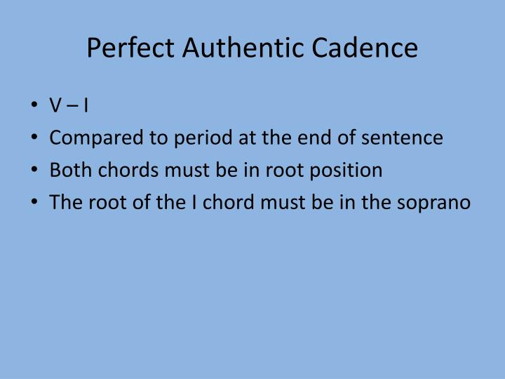 Perfect Authentic Cadence