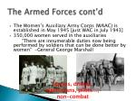 the armed forces cont d