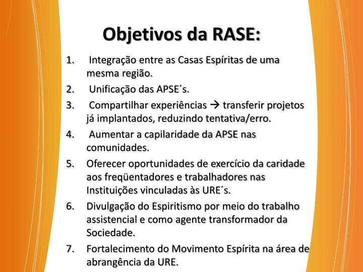Objetivos da RASE:
