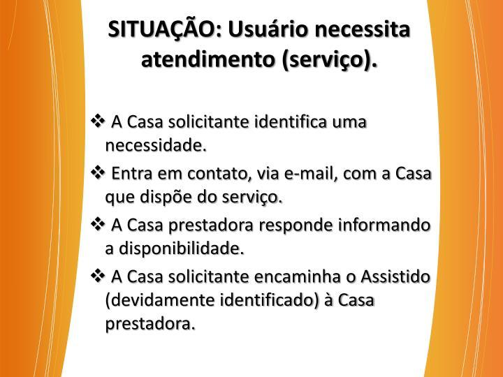 SITUAÇÃO: Usuário necessita atendimento (serviço).