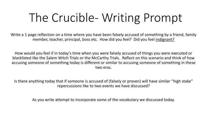 thesis statement for the crucible essay The crucible - abigail williams is to blame in arthur miller's the crucible, the main character abigail williams is to blame for the 1692 witch trials in salem, massachusetts.
