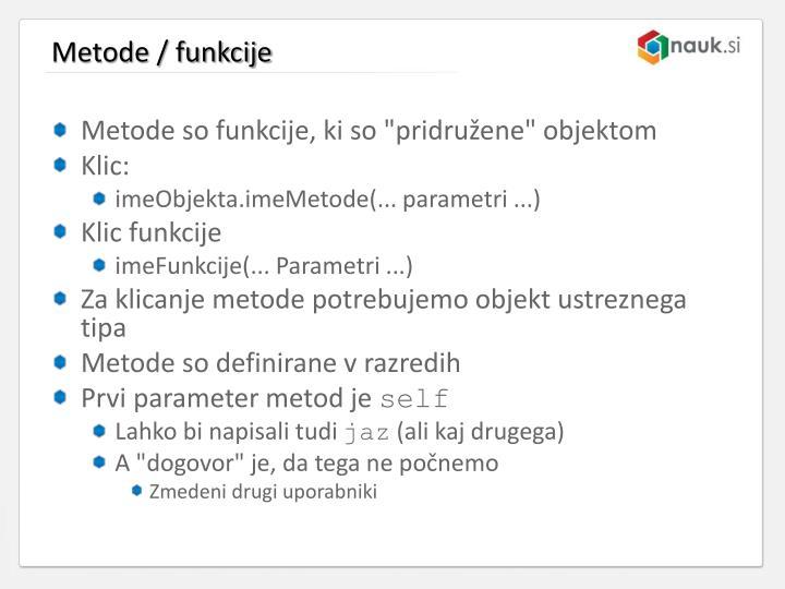 Metode / funkcije