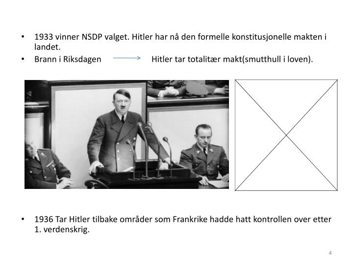 1933 vinner NSDP valget. Hitler har nå den formelle konstitusjonelle makten i landet.