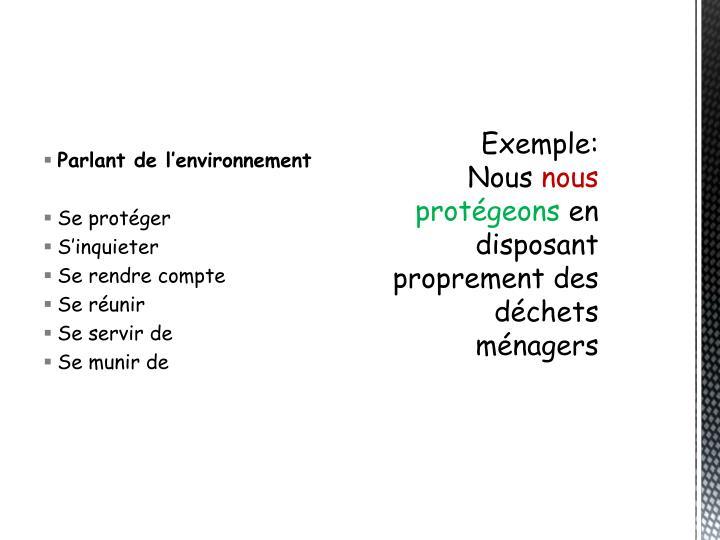 Parlant de l'environnement