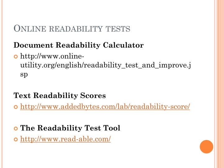 Online readability tests
