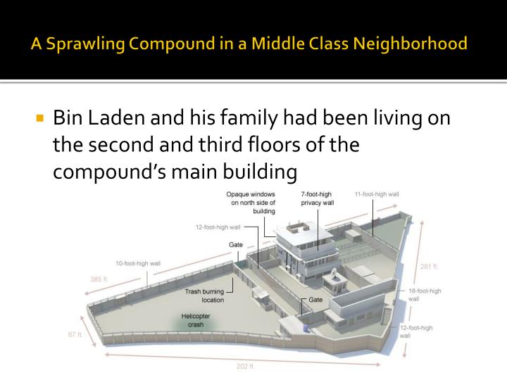 A sprawling compound in a middle class neighborhood