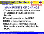 main points of change