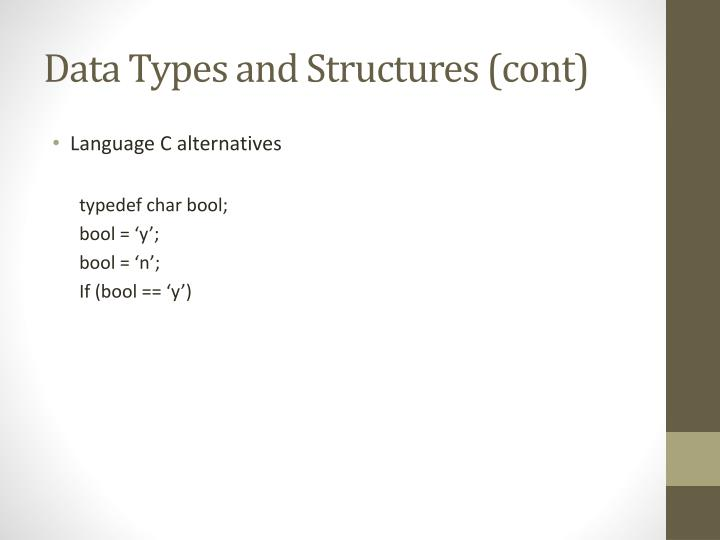 Data Types and Structures (