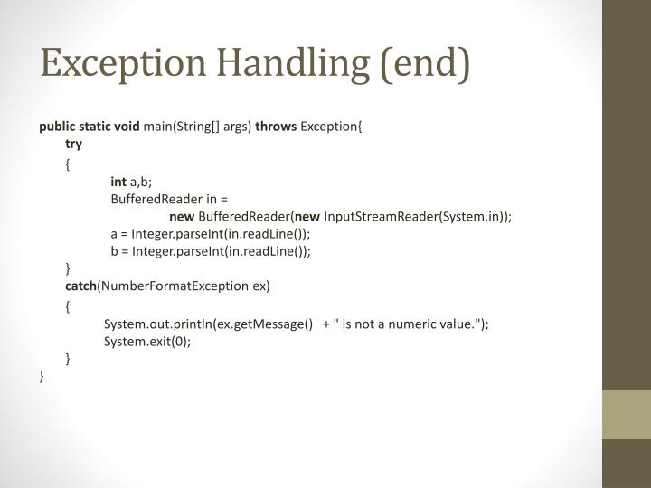 Exception Handling (end)