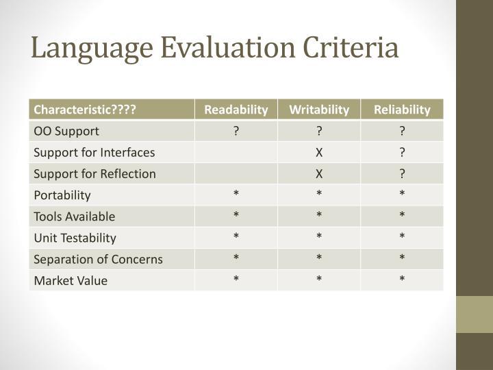 Language Evaluation Criteria