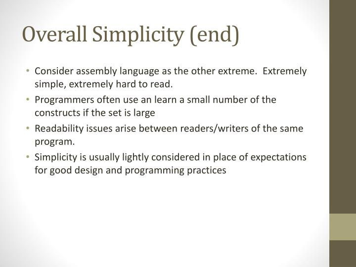 Overall Simplicity (end)