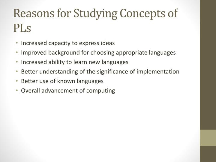 Reasons for studying concepts of pls