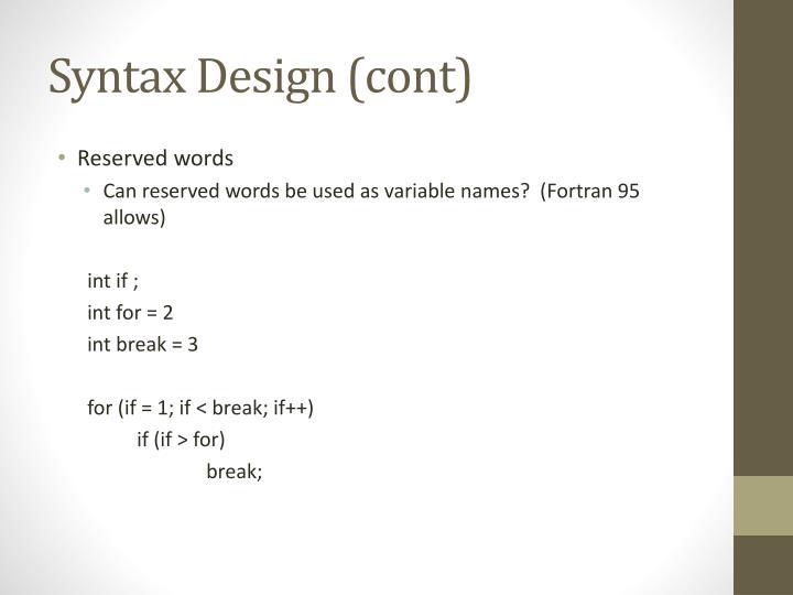 Syntax Design (