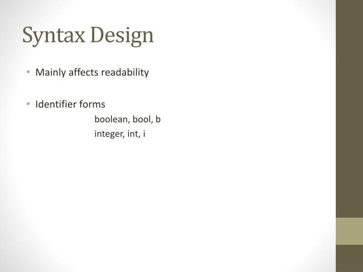 Syntax Design