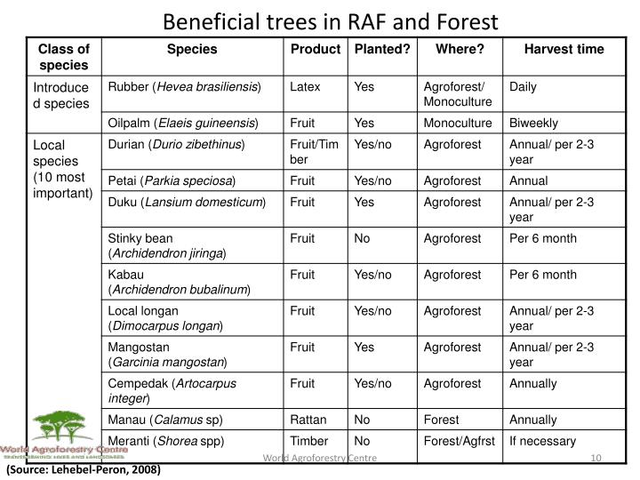 Beneficial trees in RAF and Forest
