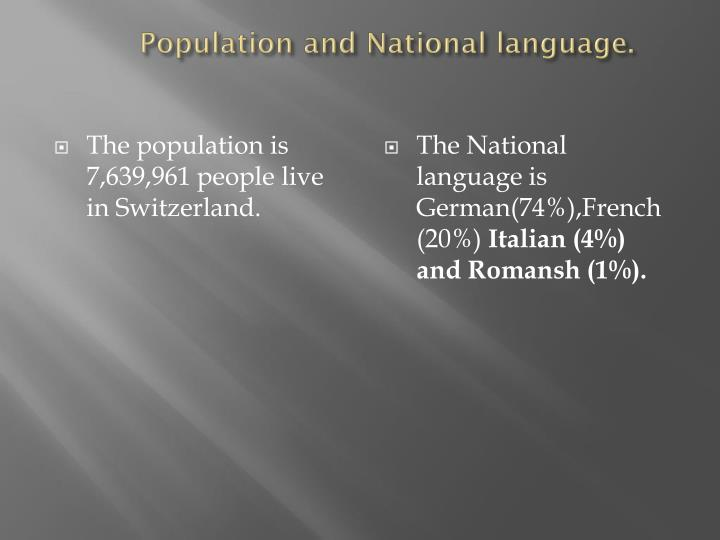 Population and national language