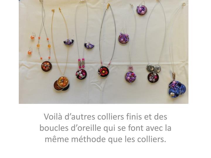 Voilà d'autres colliers finis et des boucles d'oreille qui se font avec la même méthode que les colliers.