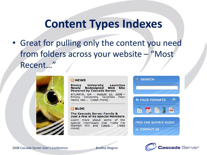 Content Types Indexes