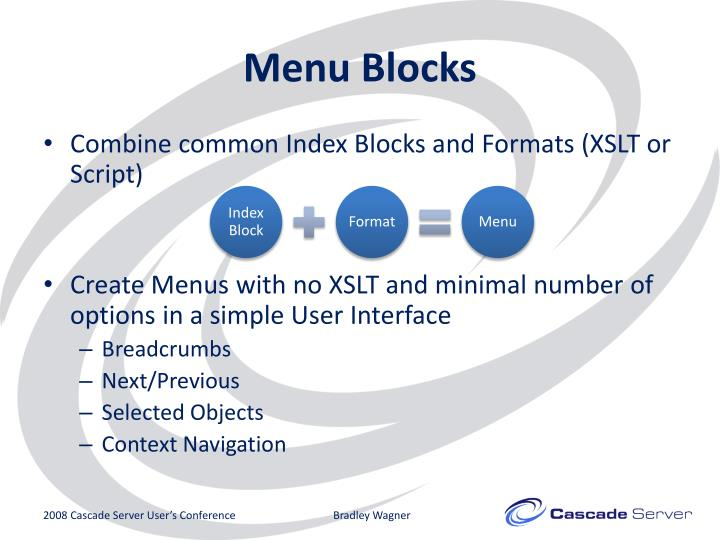 Menu Blocks