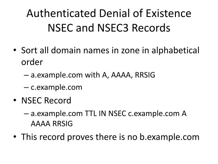 Authenticated Denial of Existence
