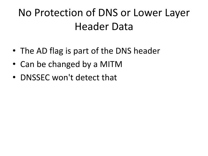 No Protection of DNS or Lower Layer Header Data