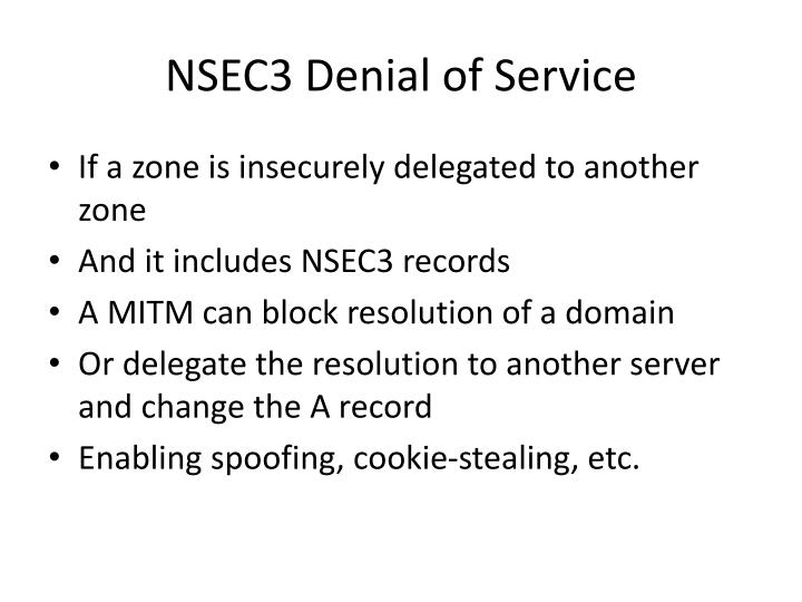 NSEC3 Denial of Service