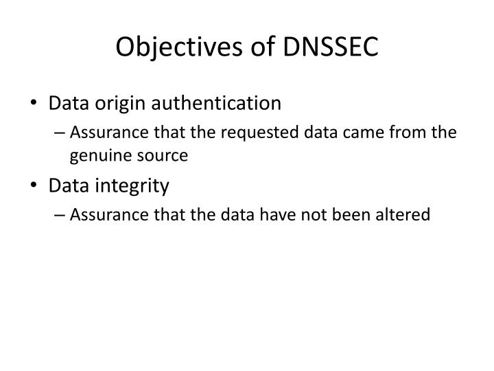 Objectives of DNSSEC
