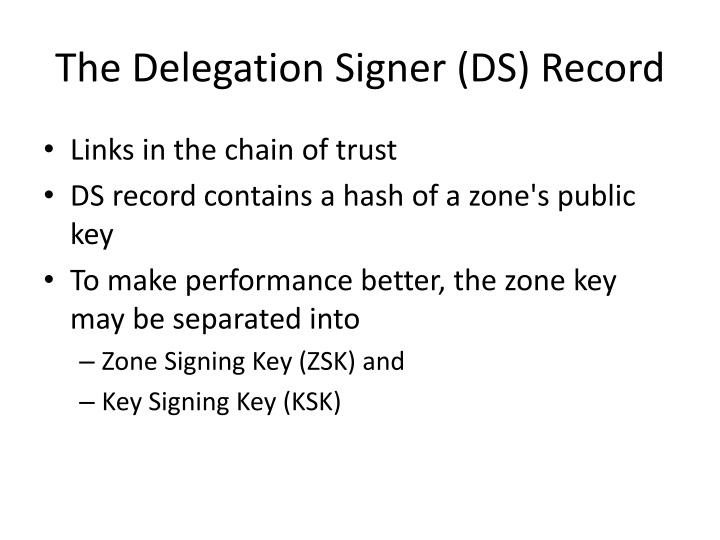 The Delegation Signer (DS) Record