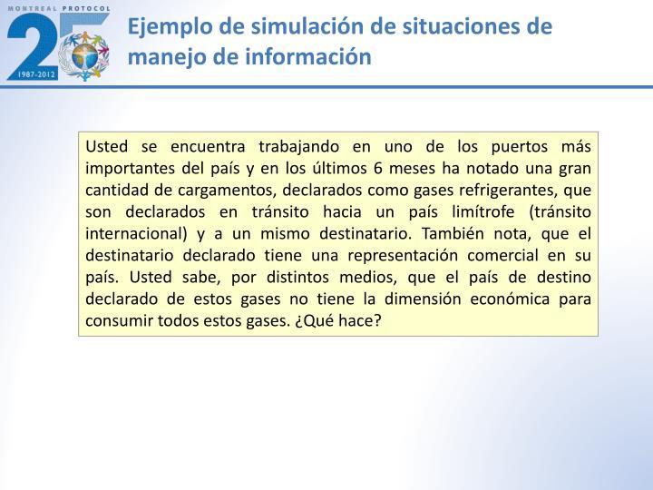 Ejemplo de simulación de situaciones de manejo de información