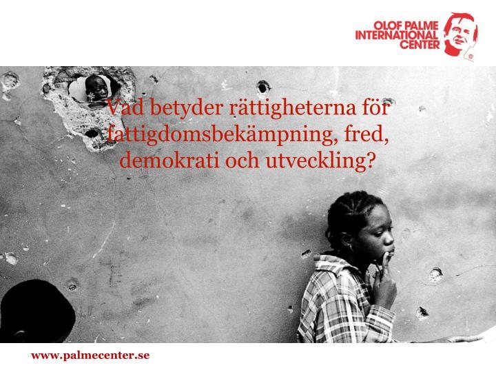 Vad betyder rättigheterna för fattigdomsbekämpning, fred,