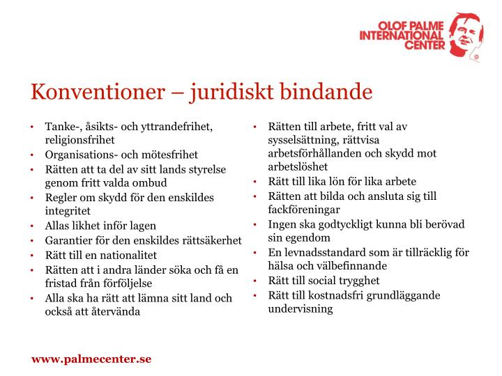 Konventioner – juridiskt bindande