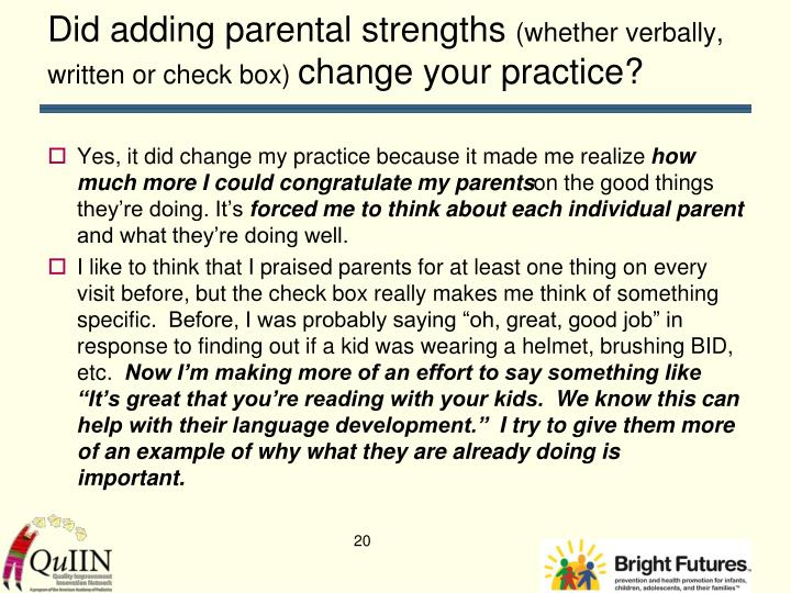 Did adding parental strengths