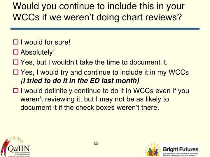 Would you continue to include this in your WCCs if we weren't doing chart reviews?