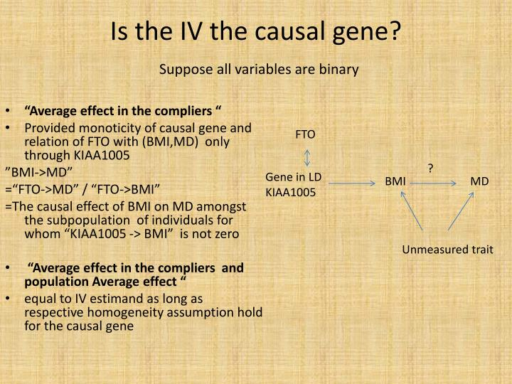 Is the IV the causal gene?