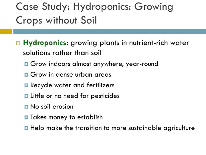 Case Study: Hydroponics: Growing Crops without Soil