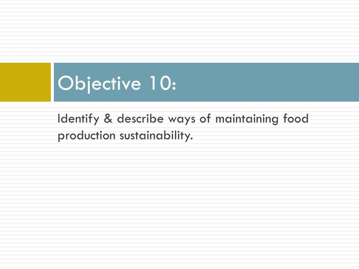 Objective 10: