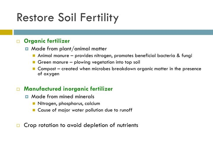 Restore Soil Fertility