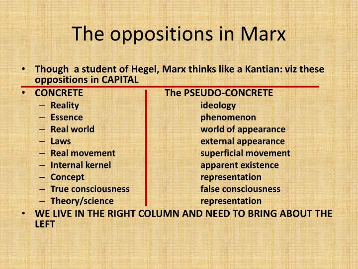 The oppositions in Marx