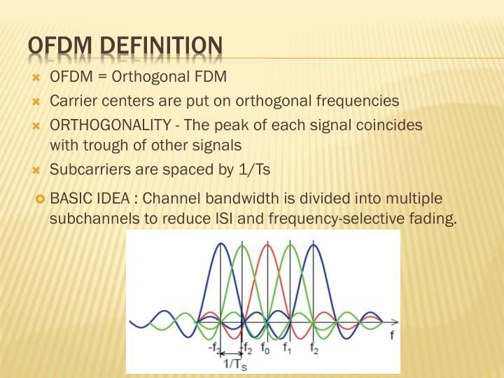 OFDM = Orthogonal FDM