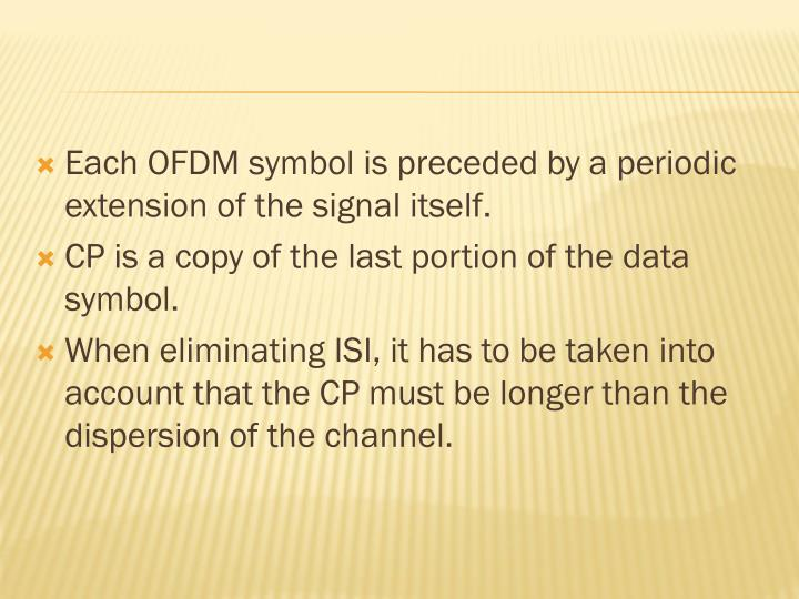 Each OFDM symbol is preceded by a periodic extension of the signal itself.