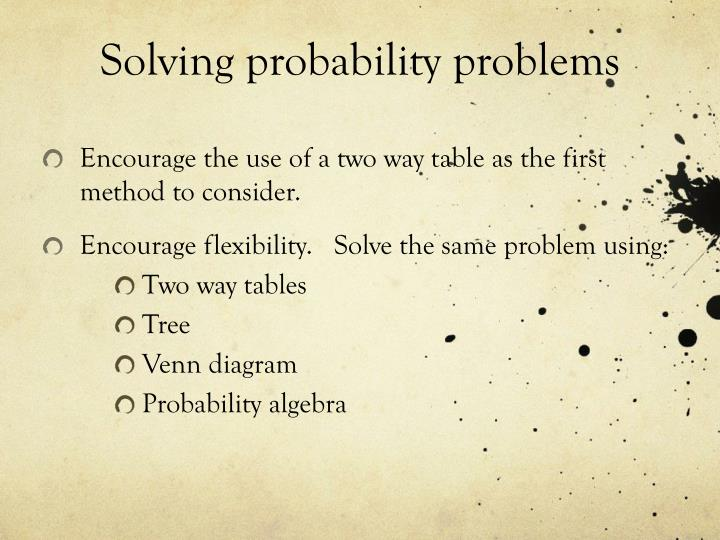 Solving probability problems