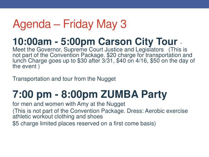 Agenda – Friday May 3