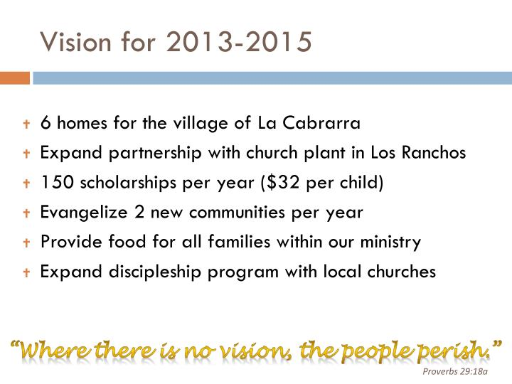 Vision for 2013-2015