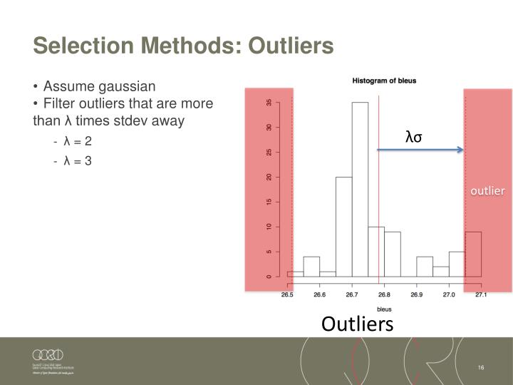 Selection Methods: Outliers