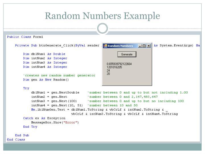 Random Numbers Example