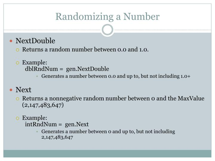 Randomizing a Number