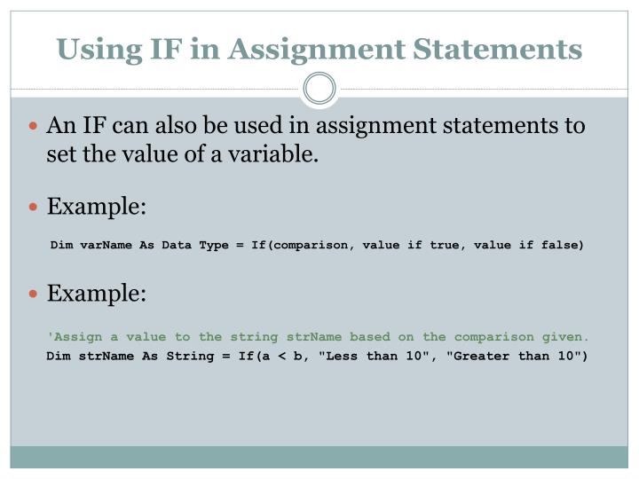 Using IF in Assignment Statements