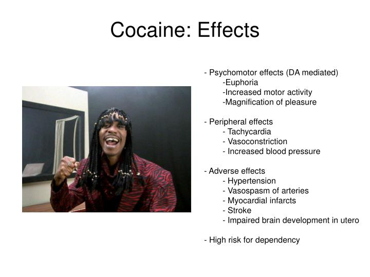 cocaine use and its effects What are the short-term effects of cocaine cocaine causes a short-lived, intense high that is immediately followed by the opposite—intense depression, edginess and a craving for more of the drug people who use it often don't eat or sleep properly.