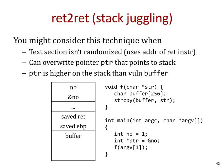ret2ret (stack juggling)