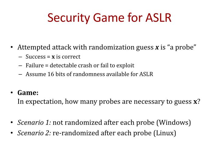Security Game for ASLR